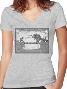 Super Mario Final Koopa Vintage Engraving Women's Fitted V-Neck T-Shirt
