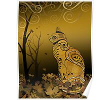 Henna Cat in Autumn Leaves Poster