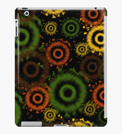 Green, Brown, Golds Tie Dyed Circles iPad Case iPad Case/Skin