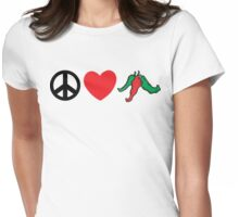 "Cinco de Mayo ""Peace Love Hot Chile Peppers"" Womens Fitted T-Shirt"