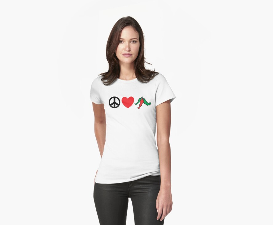 """Cinco de Mayo """"Peace Love Hot Chile Peppers"""" by HolidayT-Shirts"""