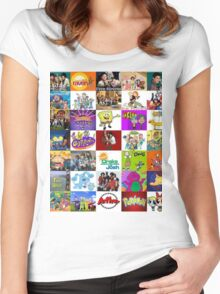 90's Kid Cartoon Mashup Women's Fitted Scoop T-Shirt