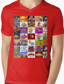 90's Kid Cartoon Mashup Mens V-Neck T-Shirt