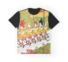 Vintage art Nouveau funny girls on a tandem bicycle Graphic T-Shirt