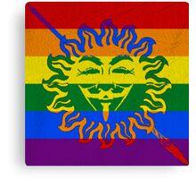 Anonymous LGBT flag Martel Unbowed Unbent Unbroken Canvas Print