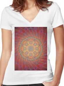 Psychedelic Spiral Design Women's Fitted V-Neck T-Shirt