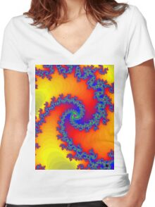Psychedelic Fractal Spiral Vortex Women's Fitted V-Neck T-Shirt