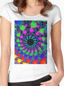 Psychedelic Fractal Spiral Vortex Women's Fitted Scoop T-Shirt