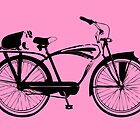 Badger On A Bicycle Pink Card & Prints by M  Bianchi