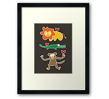 Cartoon Lion, Alligator & Chimpanzee Trio Framed Print