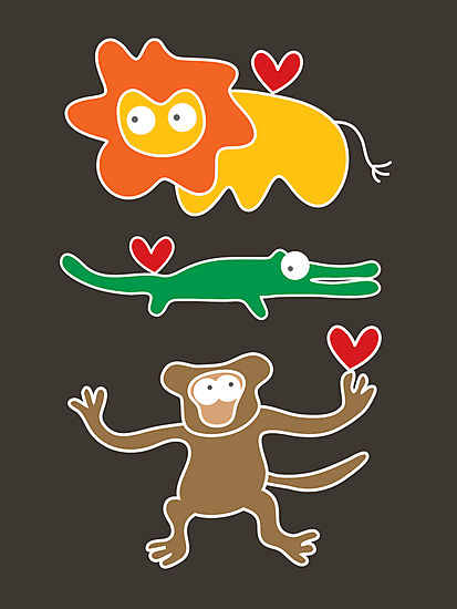 Cartoon Lion, Alligator & Chimpanzee Trio by fatfatin
