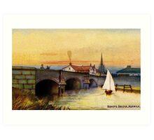 Vintage watercolour Norwich Bishop bridge Art Print