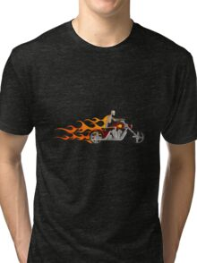 Skeleton Biker on Fire Tri-blend T-Shirt
