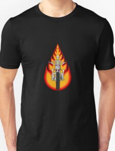 Skeleton Biker with Fire Graphics T-Shirt