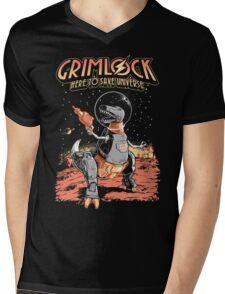 Space Pulp Robot Dinosaur Hero Mens V-Neck T-Shirt