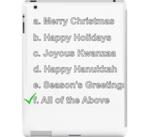 Merry Christmas Happy Holidays Seasons Greetings Hanukkah Kwanzaa iPad Case/Skin