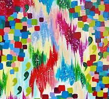 'TIS THE SEASON - Cheerful Christmas Seasonal Holidays Abstract Acrylic Painting Chevron Snow  by EbiEmporium