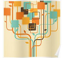 tree pattern with graphic square shape Poster