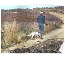 Walking the dog at Wasque Poster
