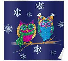 Winter Owls Poster