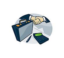 Business Handshake Deal Briefcase Retro  Photographic Print