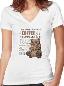 Coffee Bear Women's Fitted V-Neck T-Shirt