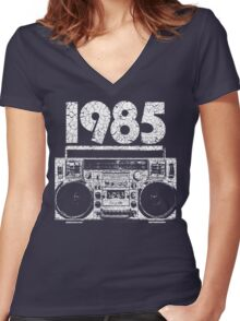 1985 Boombox Distressed Graphic Women's Fitted V-Neck T-Shirt