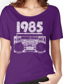 1985 Boombox Distressed Graphic Women's Relaxed Fit T-Shirt