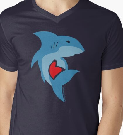 Shark Love Mens V-Neck T-Shirt
