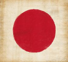 Japan flag painting in vintage style by naphotos