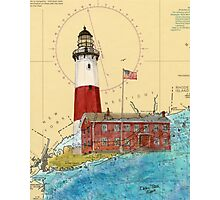 Montauk Lighthouse NY Nautical Chart Cathy Peek Photographic Print