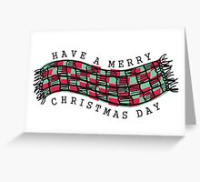 Knitting crochet scarf Merry Christmas Day Greeting Card