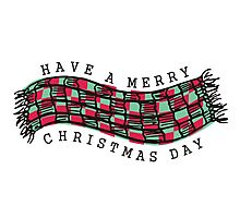Knitting crochet scarf Merry Christmas Day Photographic Print