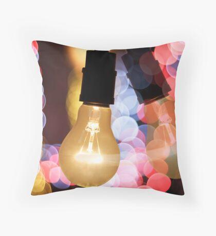 light bulb and bokeh Throw Pillow