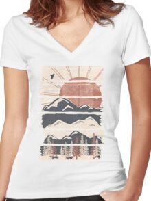 Winter Pursuits... Women's Fitted V-Neck T-Shirt
