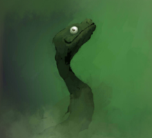 A green dragon emerging from the mist Sticker