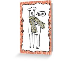 Oh hi cute doodle llama knitting crochet scarf Christmas Greeting Card
