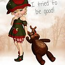 Santa I Tried To Be Good Christmas Greeting Card by Moonlake