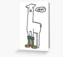 Doodle squee llama knitting crochet socks Christmas Greeting Card