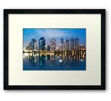 city in twilight Framed Print