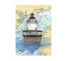 Lubec Channel Lighthouse ME Nautical Chart Cathy Peek Art Print