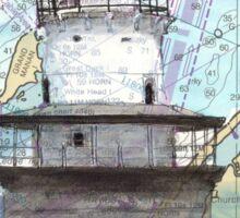Lubec Channel Lighthouse ME Nautical Chart Cathy Peek Sticker