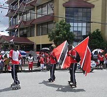 Roller Skaters Carrying The Flag by santimanitay