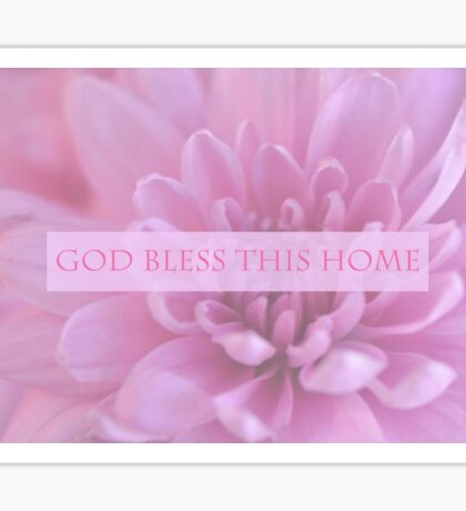 God Bless This Home - Pink  Sticker