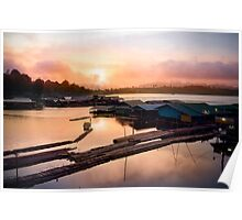 sunset at fisherman villages Poster
