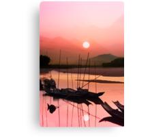 Sunset at Mae Khong Canvas Print