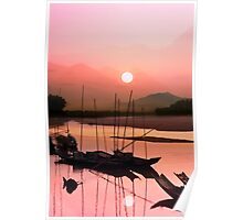 Sunset at Mae Khong Poster