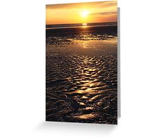 sunset on sand beach Greeting Card