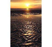 sunset on sand beach Photographic Print