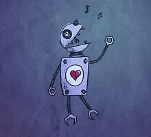 Happy Singing Robot iPhone Case by Boriana Giormova
